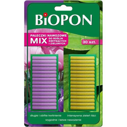 Biopon, pałeczki nawozowe, mix do roślin zielonych i kwitnących- 30 sztuk