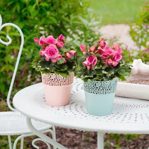 Doniczka osłonka Lamela Rosa pudrowy róż -średnica 11,5cm